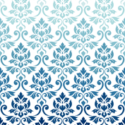 Feuille Damask Blue to Teal on White