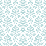 Feuille Damask Blue on White