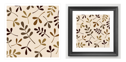 assorted leaf brown gold cream print