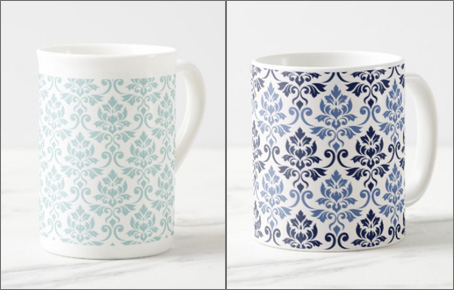 feuille damask mugs