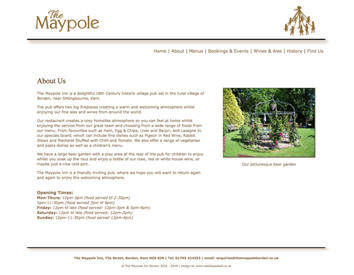 the Maypole Borden website page sample